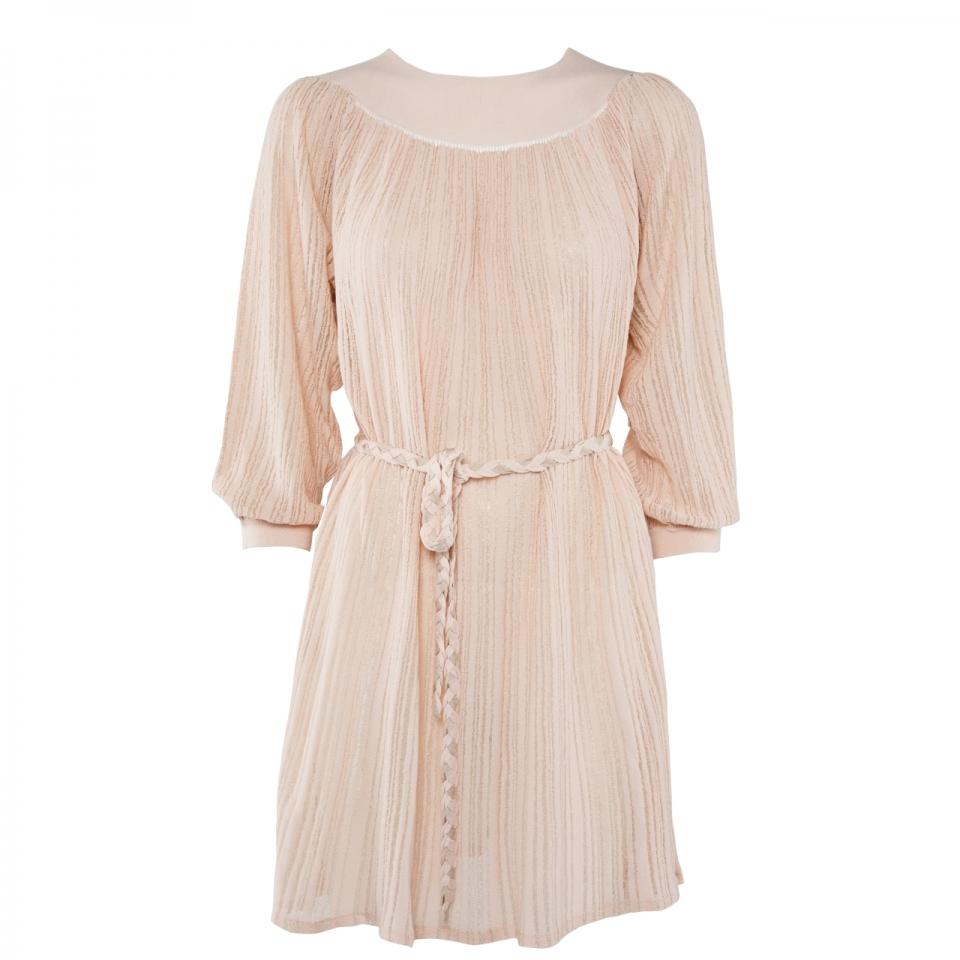 STRIPE DRESS – NUDE