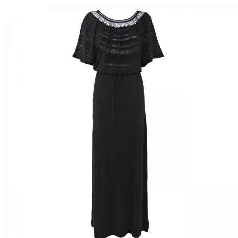 LONG LACELINE DRESS – BLACK