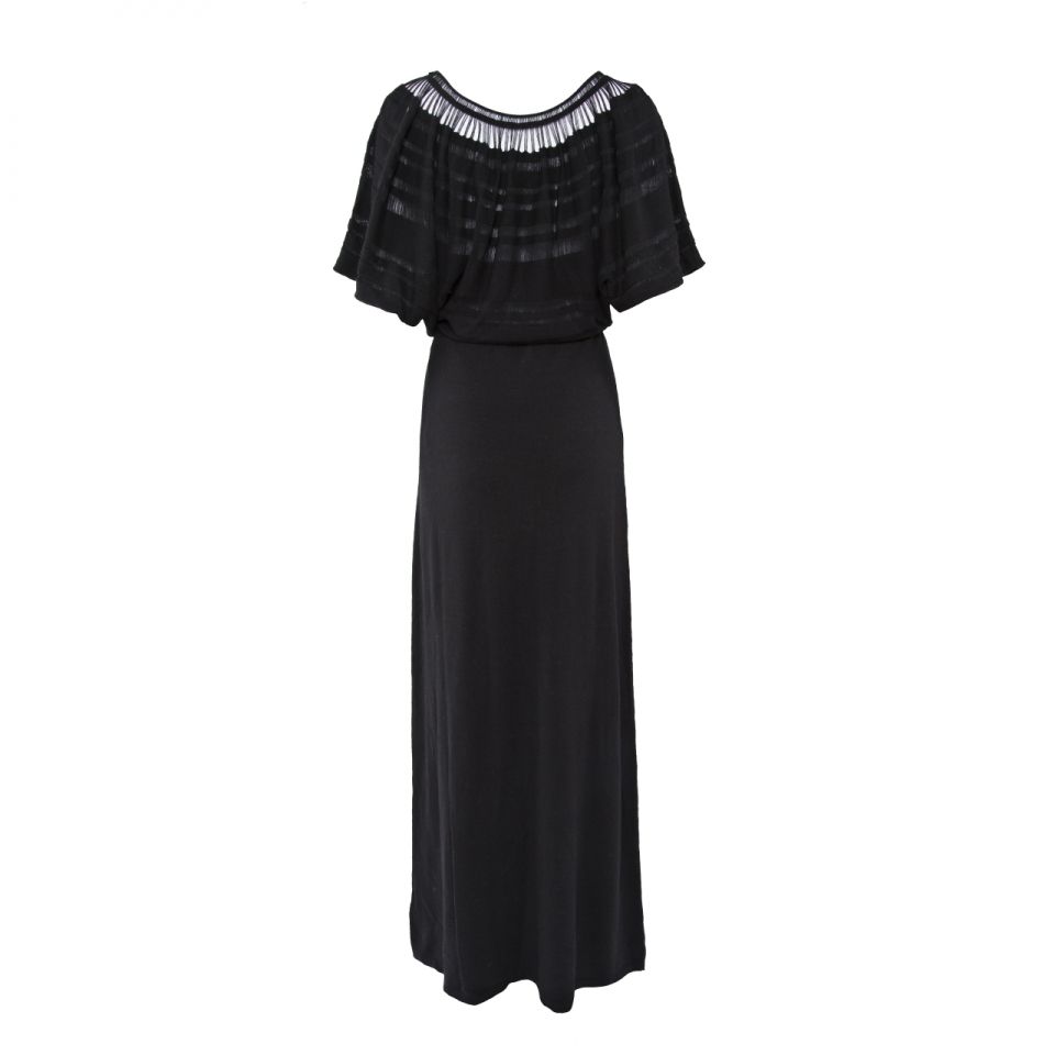 Laceline Dress black long back