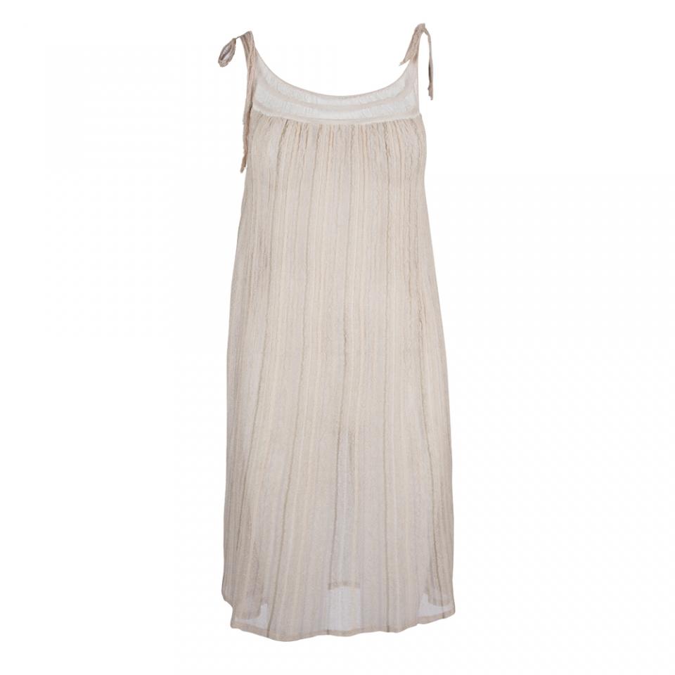 LACE STRIPE DRESS – NUDE