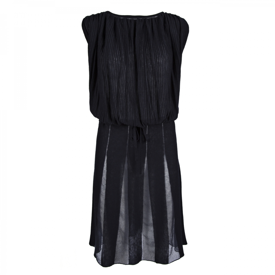 SHEER STRIPE DRESS – NAVY
