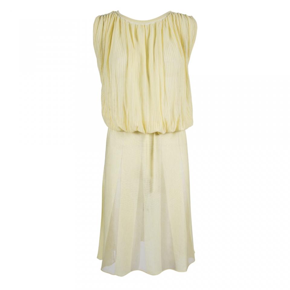 SHEER STRIPE DRESS – YELLOW