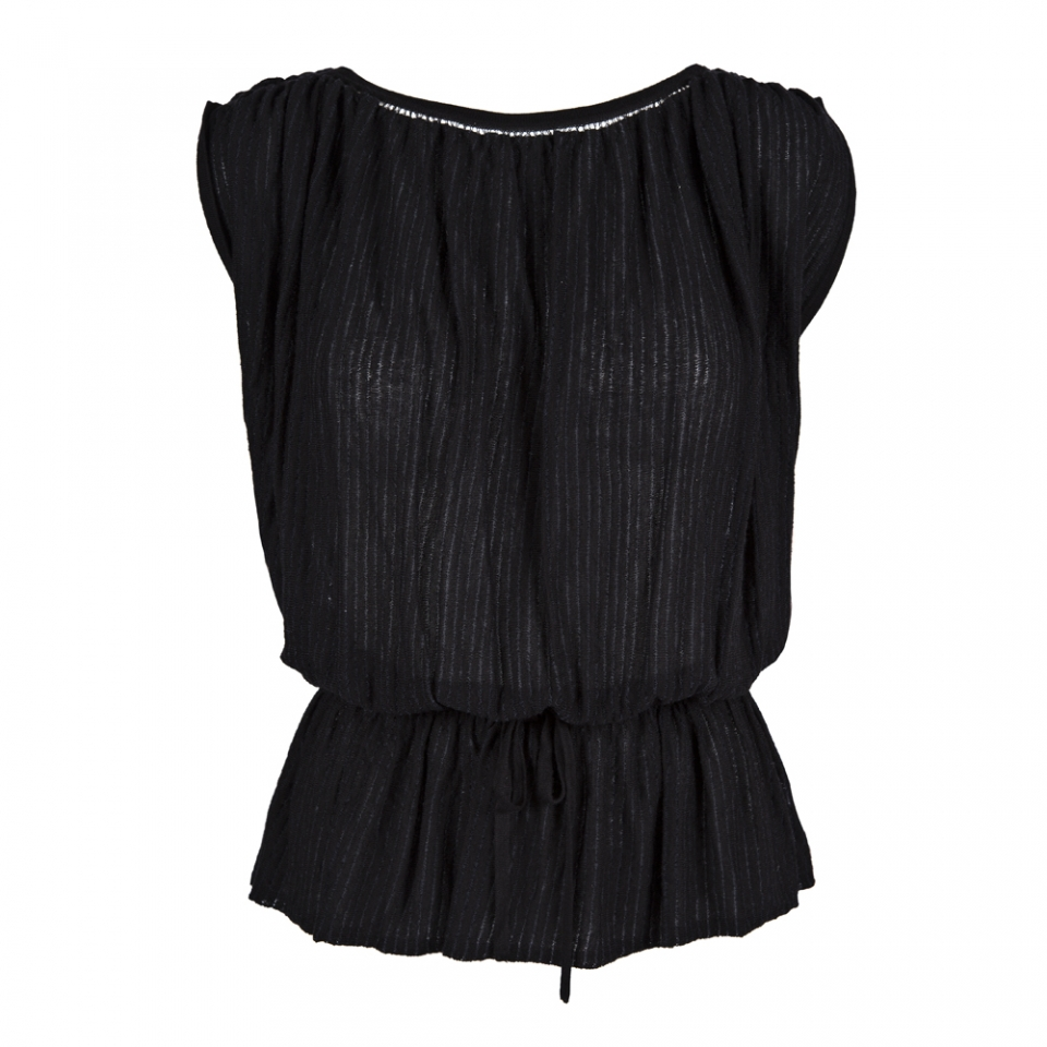 SHEER STRIPE TOP – BLACK