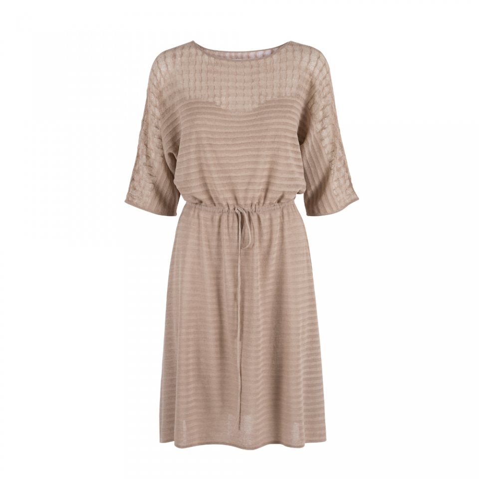 DROP STITCH DRESS – TAUPE