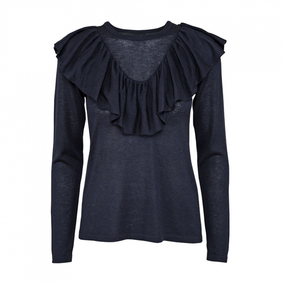 FRILL BLOUSE – NAVY