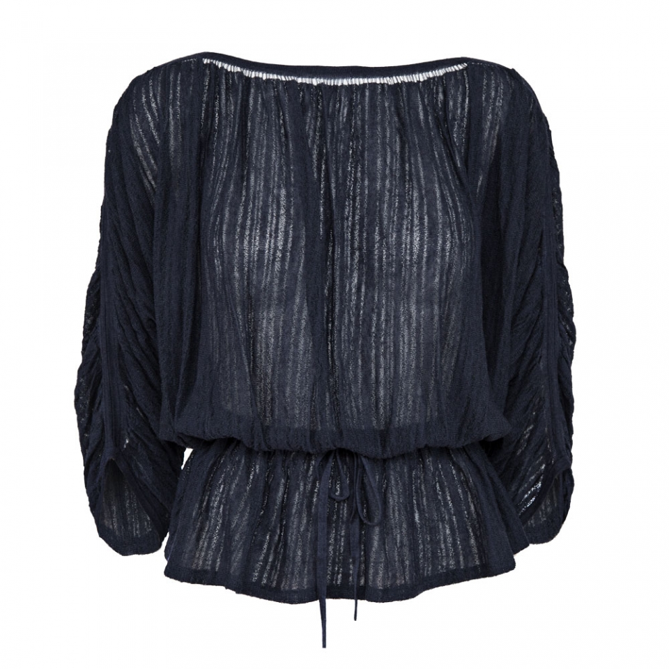 FINE STRIPE BLOUSE – NAVY
