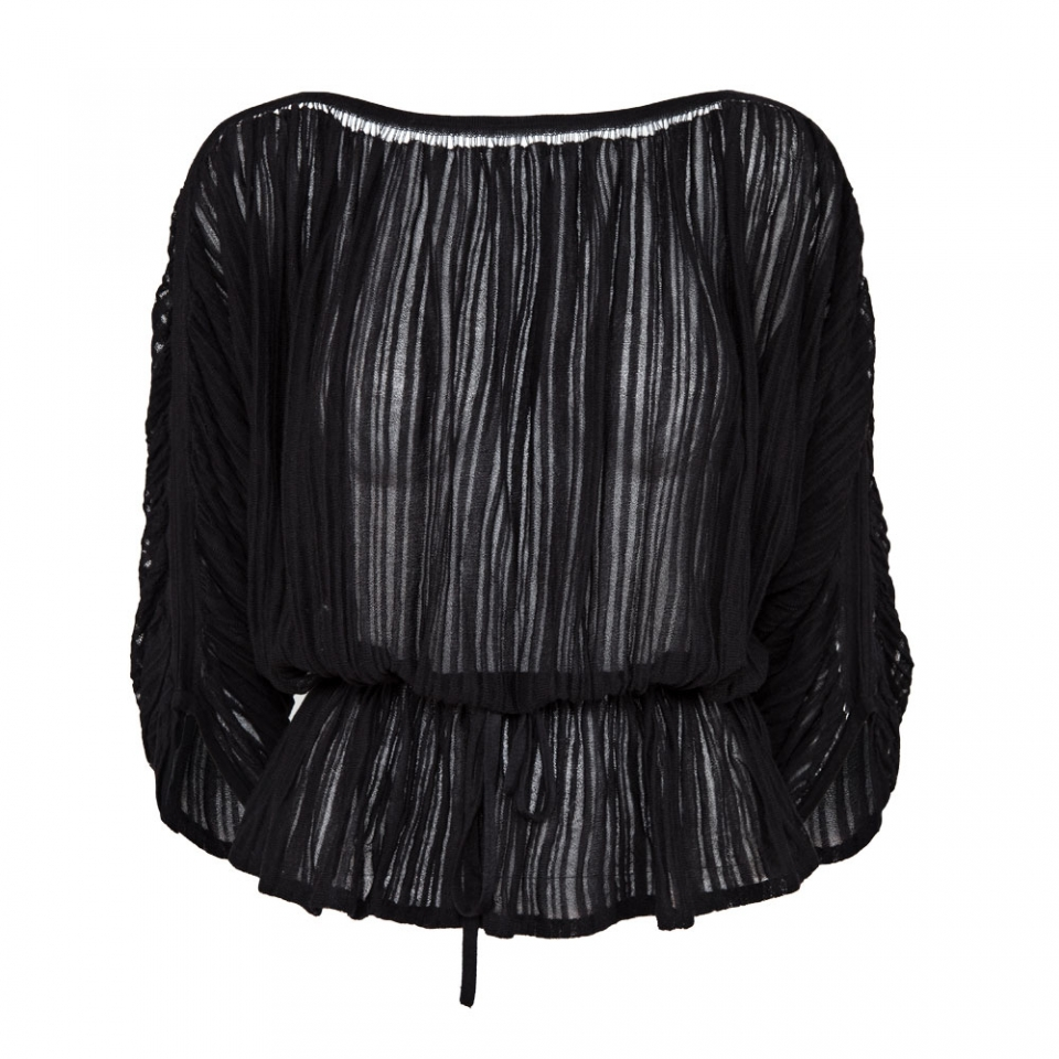 FINE STRIPE BLOUSE – BLACK