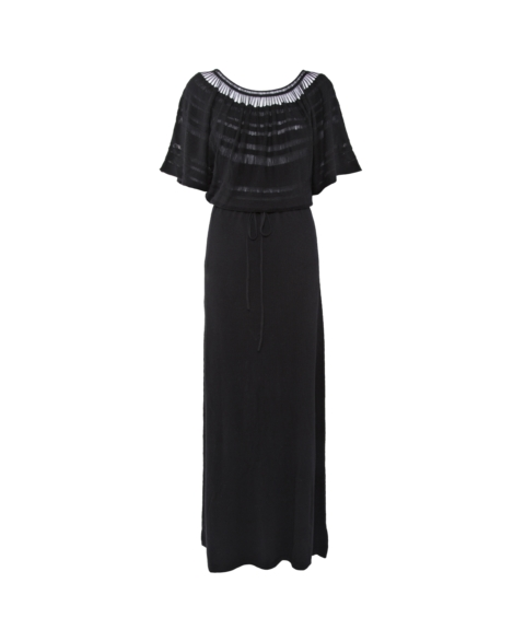 LONG LACELINE DRESS – BLACK