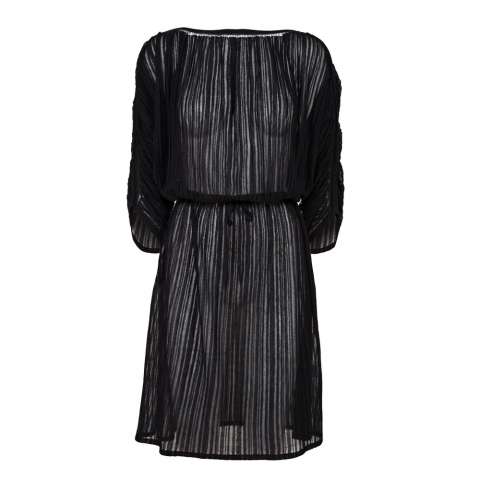 FINE STRIPE DRESS – BLACK